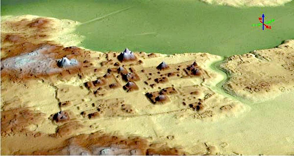 Portada - Fotografía cedida por el Proyecto Arqueológico Cuenca Mirador, tomada a través de un radar de alta precisión en El Mirador. (EFE / Proyecto Arqueológico Cuenca Mirador)