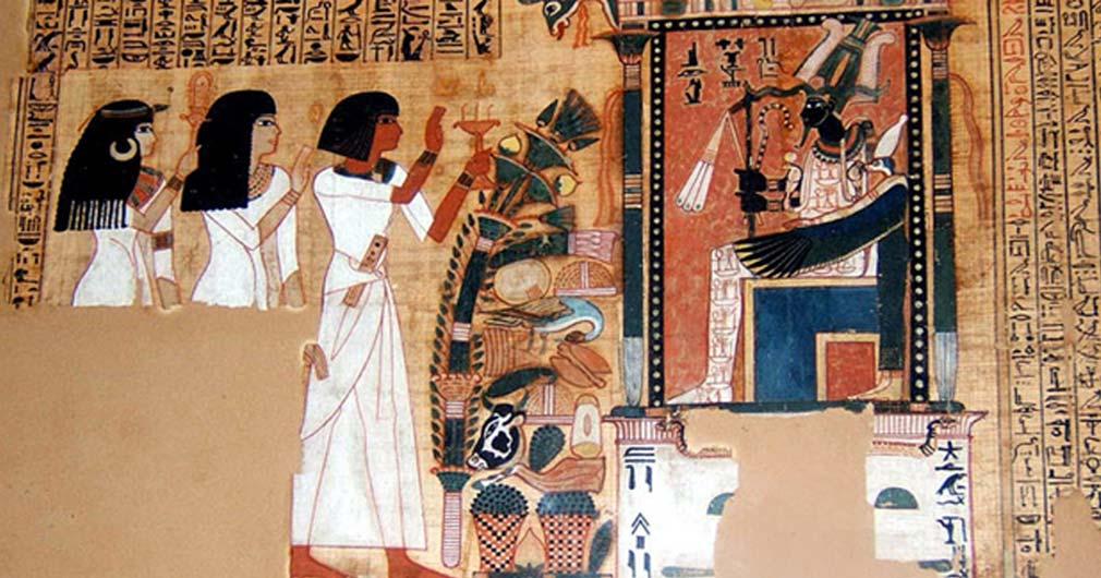 Fragmento del Libro de los Muertos del escriba Nebqed, reinado de Amenofis III (1391 a. C. – 1353 a. C.), dinastía XVIII. Nebqed comparece ante el dios egipcio de los muertos seguido por su madre Amenemheb y su esposa Meryt. (Public Domain)