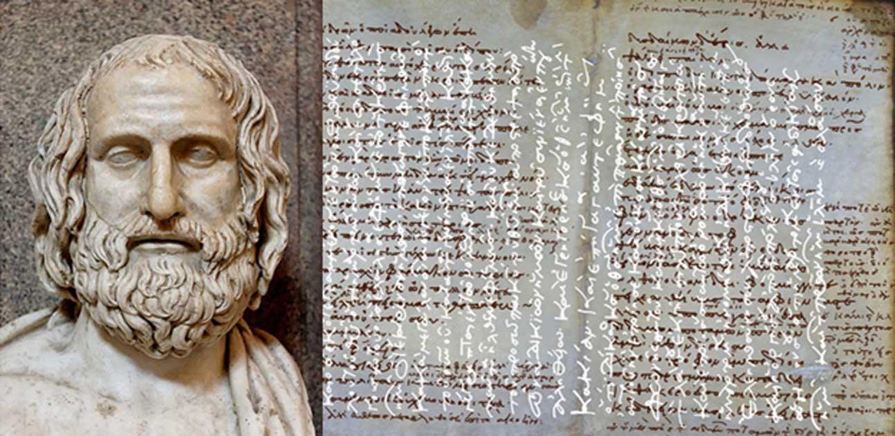 Portada - Busto de Eurípides. Mármol, copia romana de un original griego de aproximadamente el 330 a. C. (Dominio público). Codex Hierosolymitanus Sancti Sepulcri 36, p. 539. (Palamedes 2013)