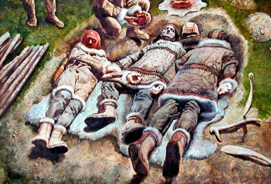 Portada - Representación artística del triple entierro de Dolní Věstonice. Fuente: anthropology.net