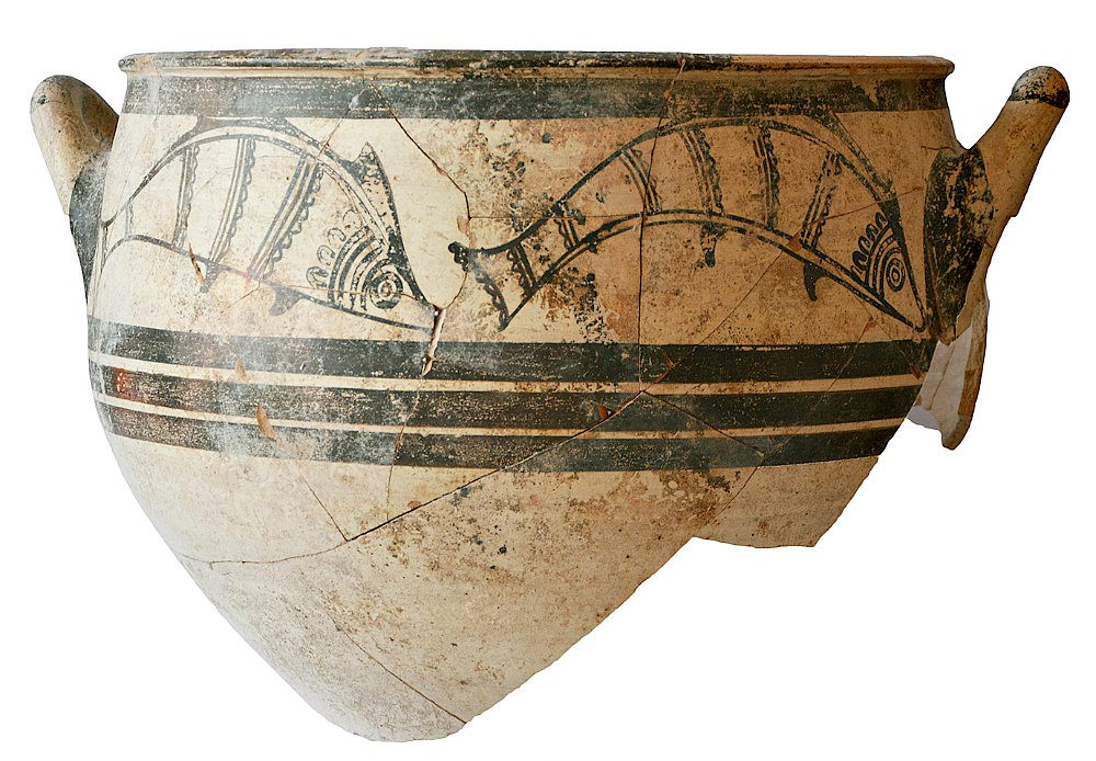 Portada - Vasija micénica (griega continental) con motivos de peces, hallada en la tumba recientemente descubierta en Chipre (c. 1300 a. C.) (Fotografía: Peter Fischer/Universidad de Gotemburgo)