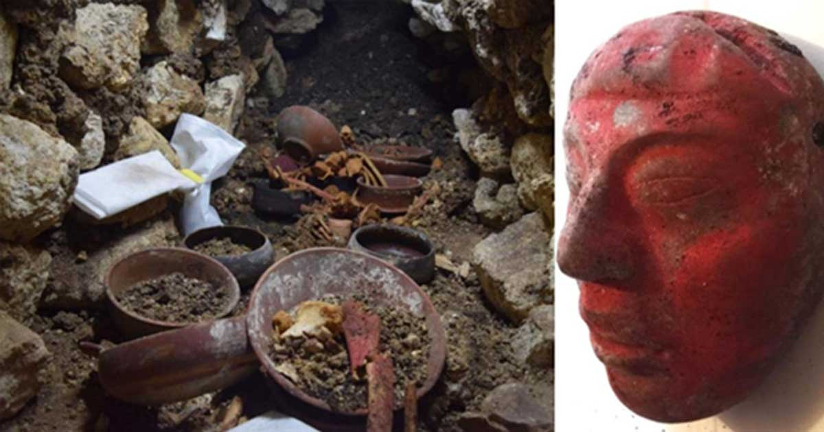 Portada - Izquierda: Copa de piedra en el centro de Enterramiento 80, rodeada de huesos durante las excavaciones. Derecha: Máscara de jade hallada en el Enterramiento 80, pintada de rojo con pigmento de cinabrio. (Proyecto Arqueológico Waka' y Ministerio de Cultura y Deportes de Guatemala)