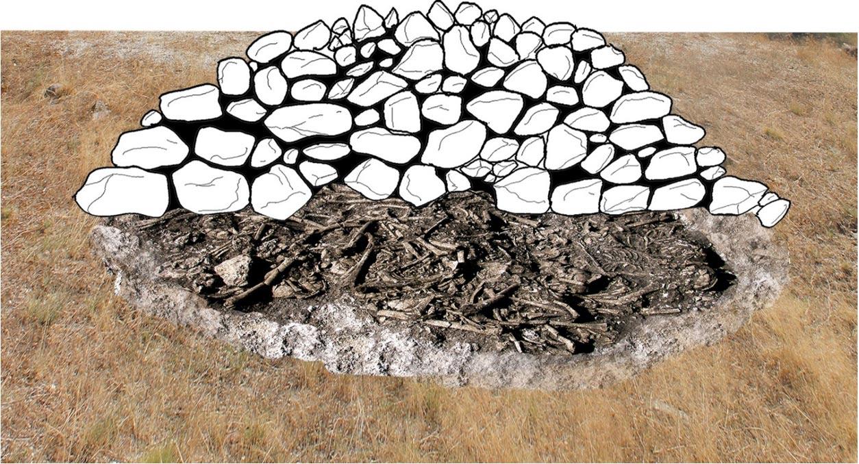 Portada-Reconstrucción de la apariencia original del túmulo megalítico del Alto del Reinoso. Gráfico: Héctor Arcusa Magallón