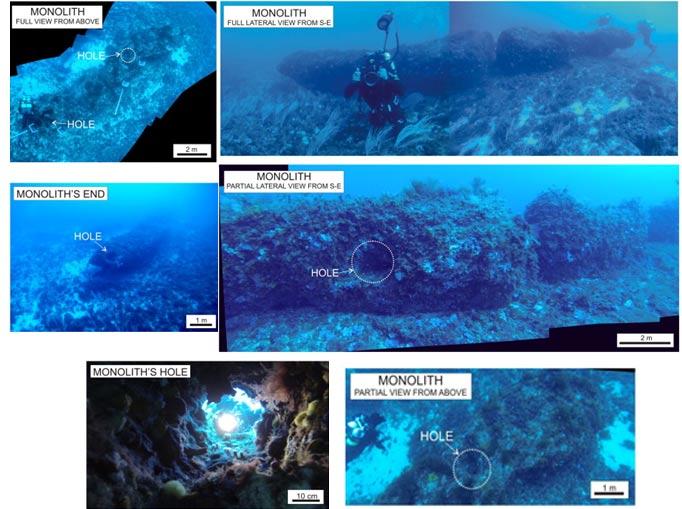 Portada: Serie de fotos del monolito sobre el lecho marino. Obsérvese el preciso orificio practicado en su superficie al ser fotografiado por uno de los submarinistas que se encuentran estudiando el área sumergida entre las costas de Túnez y Sicilia. (ScienceDirect)
