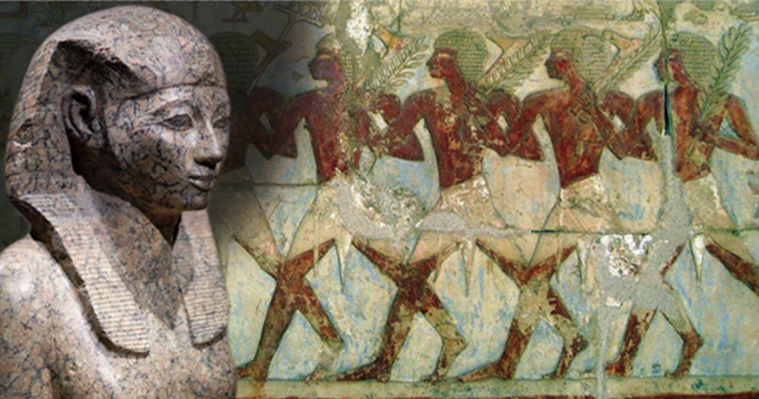Portada - Estatua de piedra de Hatshepsut (CC BY-SA 2.0) y soldados egipcios integrantes de la expedición de Hatshepsut a la Tierra de Punt, tal y como aparecen representados en el templo de la reina faraón construido en Deir el-Bahari. (CC BY 2.0)