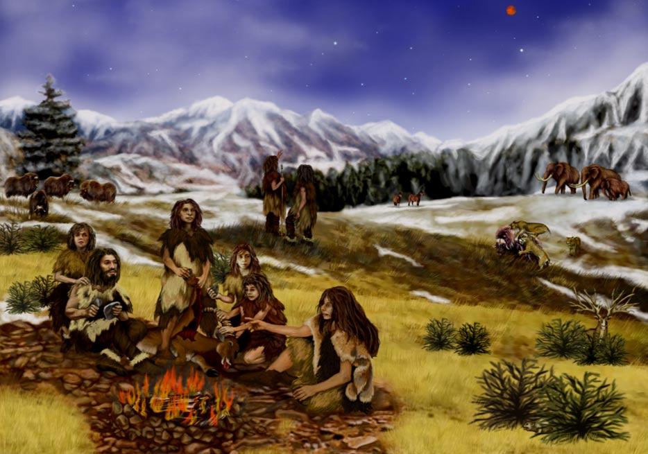 Portada-impresión de un artista de la vida en la Edad de Piedra (Wikipedia)