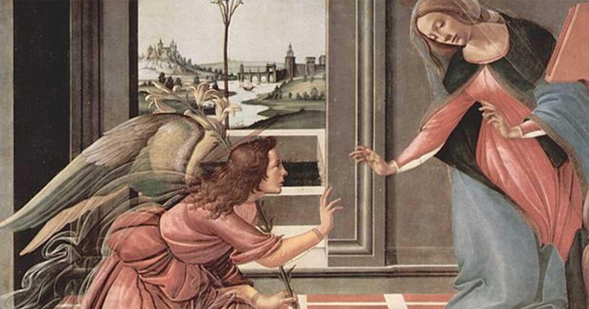"""Portada - """"Anunciación"""" (1489-1490), temple sobre madera de Sandro Botticelli. (Public Domain)"""