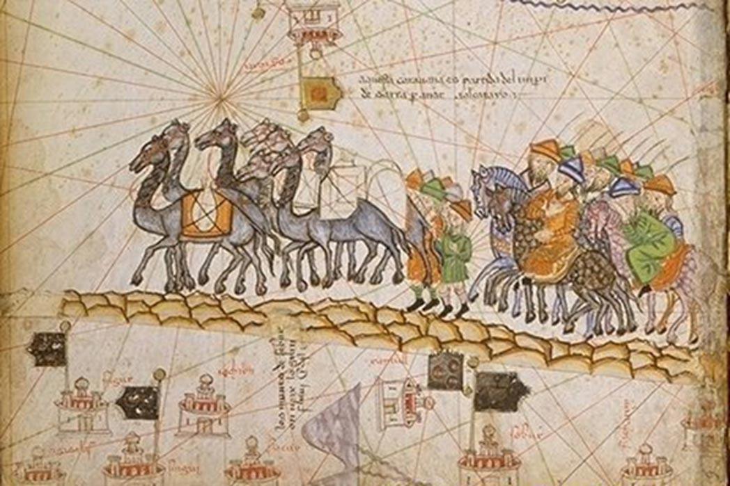 Portada-Caravana en la Ruta de la Seda, 1380. (Public Domain)