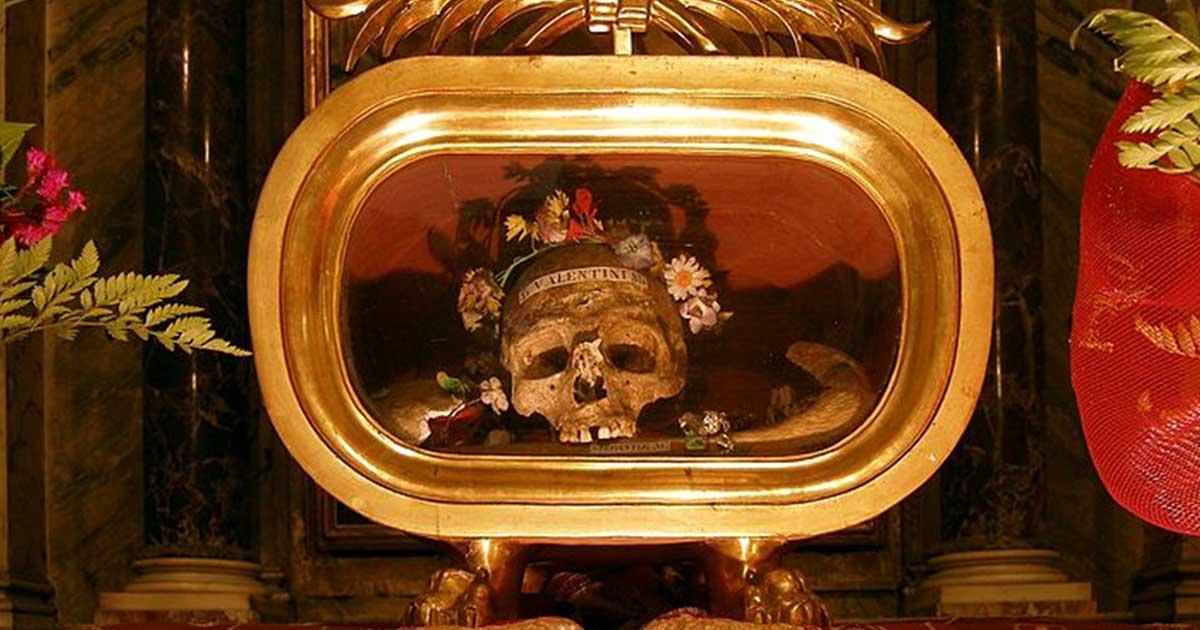 Reliquias de San Valentín de Terni en la basílica de Santa María en Cosmedin. Fuente: Dnalor 01 (Trabajo propio) CC BY SA 4.0
