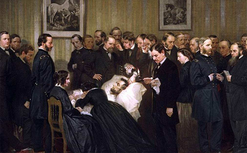 La famosa foto de la muerte de Abraham Lincoln, ahora el tema del documental de Discovery Channel, aún no se ha revelado. Representa el cadáver del famoso presidente después de su asesinato. Esta pintura de Alonzo Chappel, se titula Las últimas horas de Abraham Lincoln.
