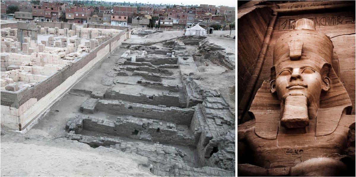 Izquierda: Excavaciones en el templo de Ramsés II en Abydos descubrieron los depósitos de cimientos del templo en su esquina suroeste, que fue enterrada en 1279 a. C. (Ministerio de Antigüedades de Egipto). Derecha: estatua de Ramsés II en Abu Simbel, Egipto. (Stock de Gianluca/ Adobe)
