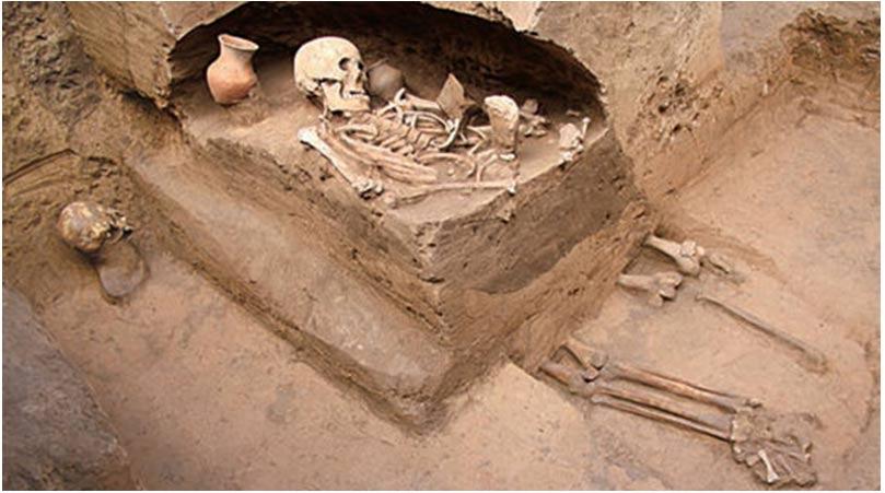 El esqueleto que aparece en la foto de una mujer adulta colocada de cara al noroeste fue descubierto entre las tumbas prehistóricas junto con muchos otros en China. Gran parte de este esqueleto está destruido por debajo del abdomen.