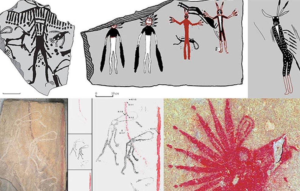Se encontraron obras de arte asombrosas en las paredes de una tumba de piedra en Siberia. Imagen: Vladimir Kubarev / IAET SB RAS
