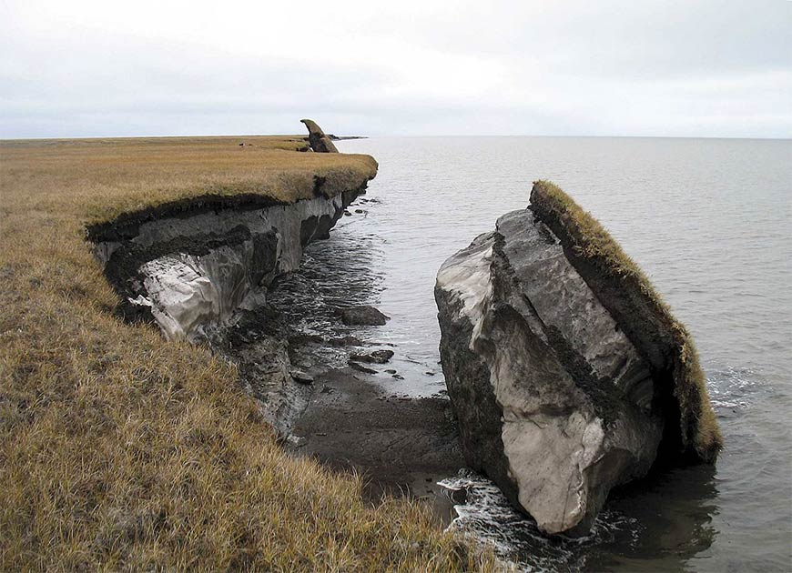En esta foto se puede ver un bloque colapsado de permafrost rico en hielo a lo largo de Drew Point, Alaska. Las enfermedades antiguas liberadas por un cambio tan rápido representan una grave amenaza para las poblaciones humanas del siglo XXI