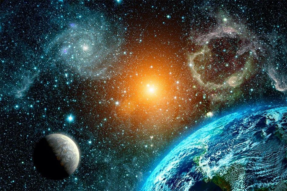 La astronomía griega antigua ha desconcertado a los expertos durante siglos: ¿cómo sabían lo que sabían hace tanto tiempo? Estos cuatro descubrimientos personifican esto. En la imagen: vista de la Tierra, la Luna y el Sol desde los elementos espaciales (imagen original de la NASA). Fuente: vovan/ Adobe stock