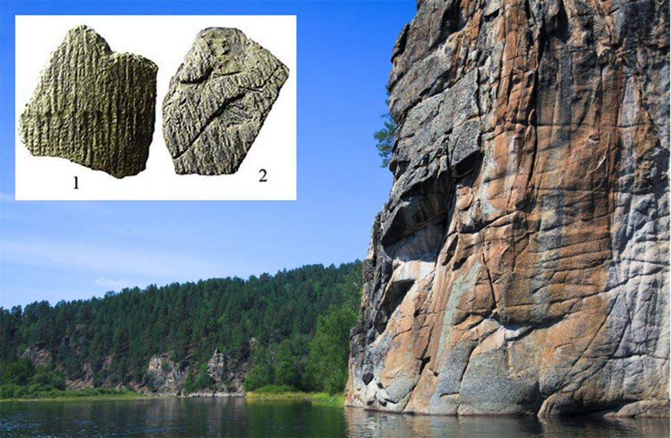 río siberiano; recuadro, algunos de los fragmentos de cerámica seleccionados para la investigación. Fuente: anton_shoshin / Adobe Stock; recuadro, Shoda et al. / Science Direct