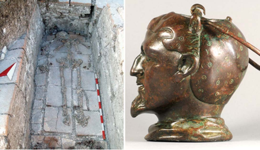 Izquierda: el balsamarium fue encontrado junto al entierro de un hombre que murió entre 35 y 40 años. Derecha: Balsamarium de la tumba de ladrillo en el túmulo de Kral Mezar. Crédito: Daniela Agre, Deyan Dichev y Gennady Agre / ajaonline.org.