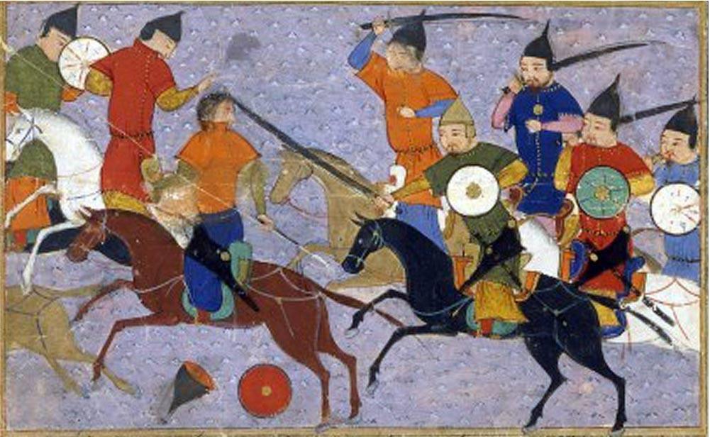 Batalla entre mongoles y chinos montados en caballos de guerra (1211). Dominio público