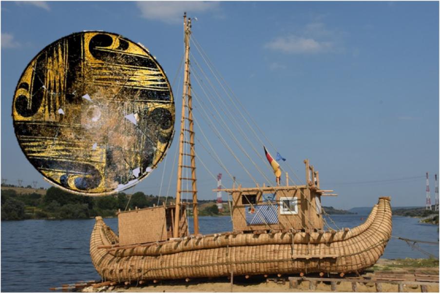 El Abora IV, basado en el antiguo barco de caña egipcio. (Mission ABORA) Insertar: La placa dorada de Varna, Bulgaria. (Todor Uzunov)