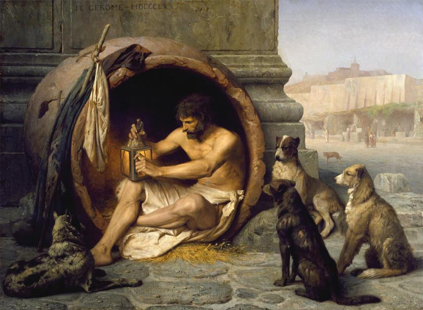 El filósofo griego Diógenes fue un famoso alumno del fundador del cinismo, Antístenes. Fuente: dominio público