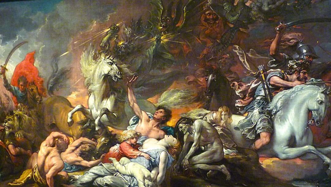 """pintura de 1796, """"La muerte en un caballo pálido"""", representación de los cuatro jinetes del Apocalipsis. Fuente: VortBot / Public Domain."""