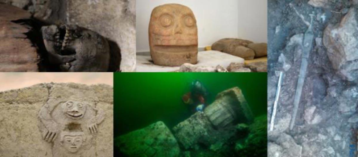 Una de las momias encontradas en el sitio de entierro de Tuna El-Gebel. (Ministerio de Antigüedades) Cabeza y torso del dios Xipe Totec encontrados en el sitio arqueológico de Ndachjian - Tehuacán. (Melitón Tapia / INAH) Se ha encontrado una espada de la civilización talaiótica en Mallorca, España. (Diario de Mallorca) Tallas hechas por personas en Vichama, Perú hace 3,800 años sugieren que la lluvia llegó justo a tiempo.