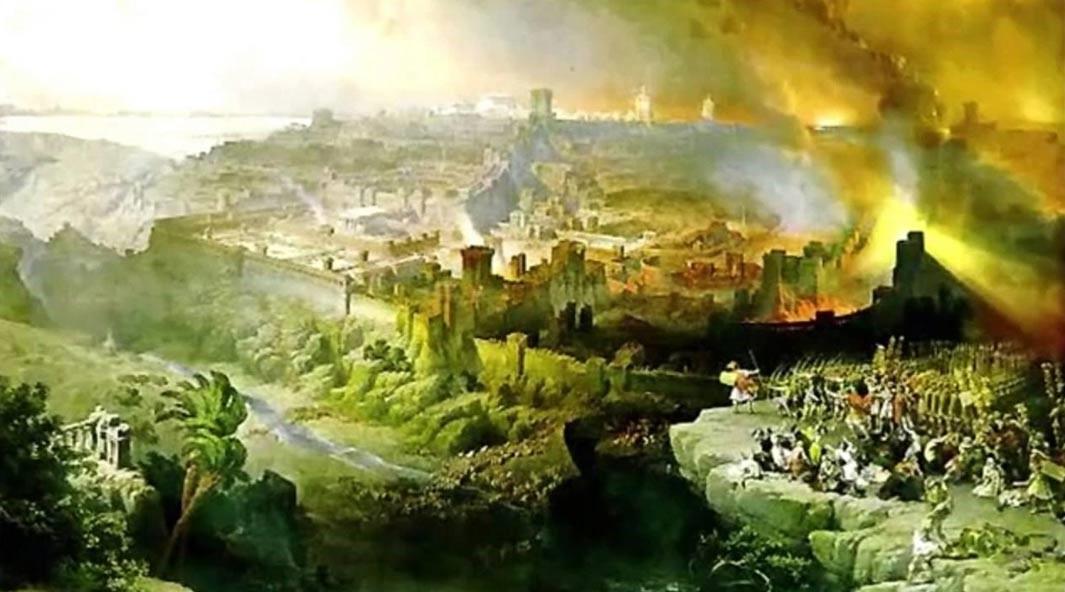 El asedio y la destrucción de Jerusalén por los romanos bajo el mando de Tito, 70 d.C., por David Roberts (1850), muestra la ciudad en llamas. Dominio público