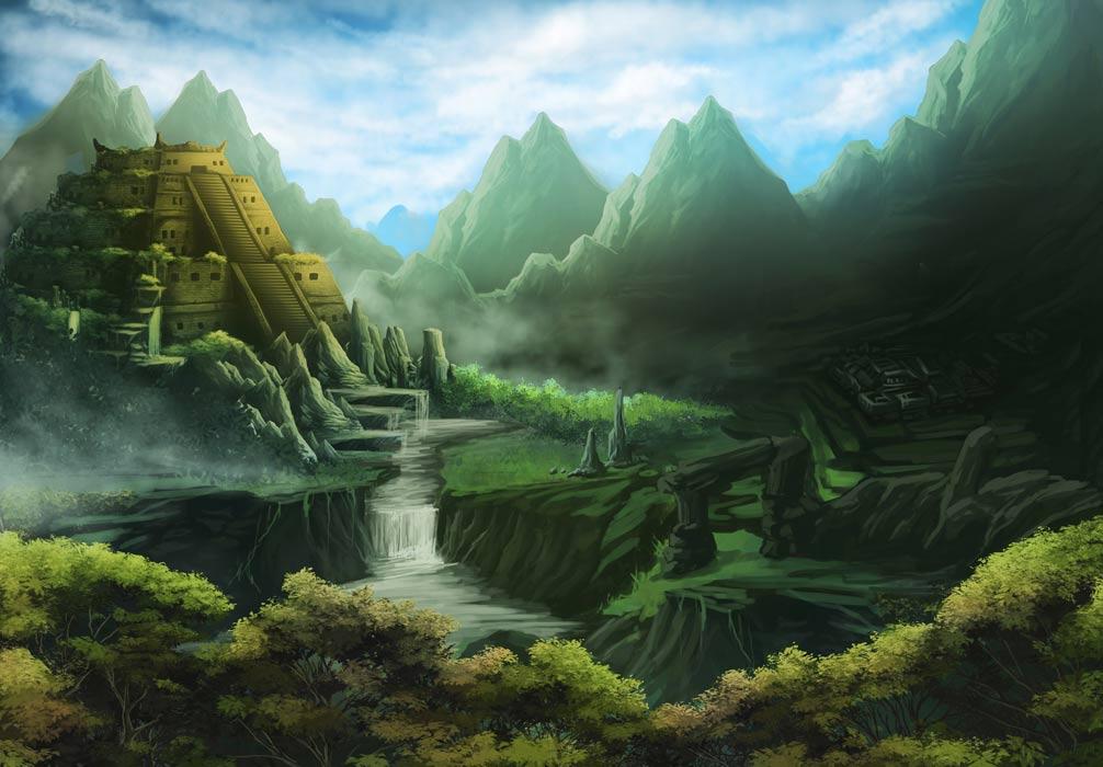 Representación artística de un templo azteca en una tierra misteriosa. Aztlán es la patria legendaria de los aztecas.