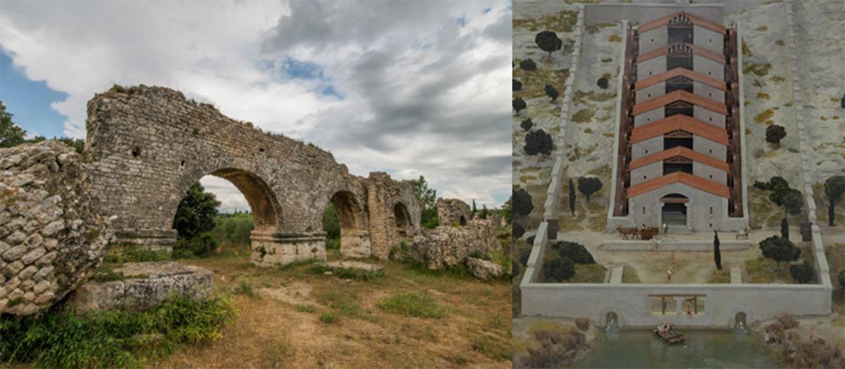 as del acueducto romano (Olja / Adobe Stock) y maqueta de los molinos de Barbegal. (Carole Raddato / CC BY SA 2.0)