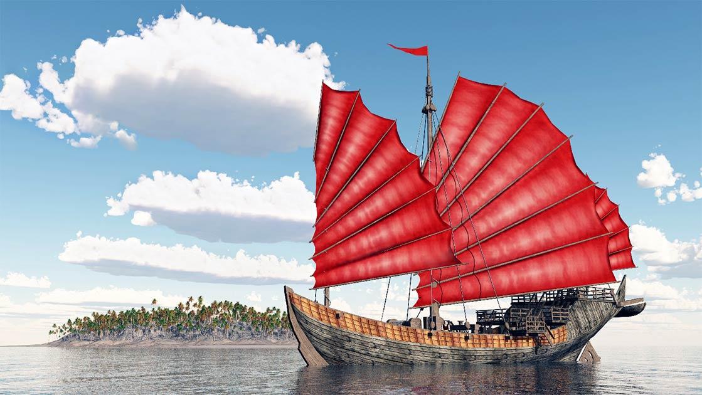 Un antiguo barco chino. Fuente: Michael Rosskothen / Adobe Stock