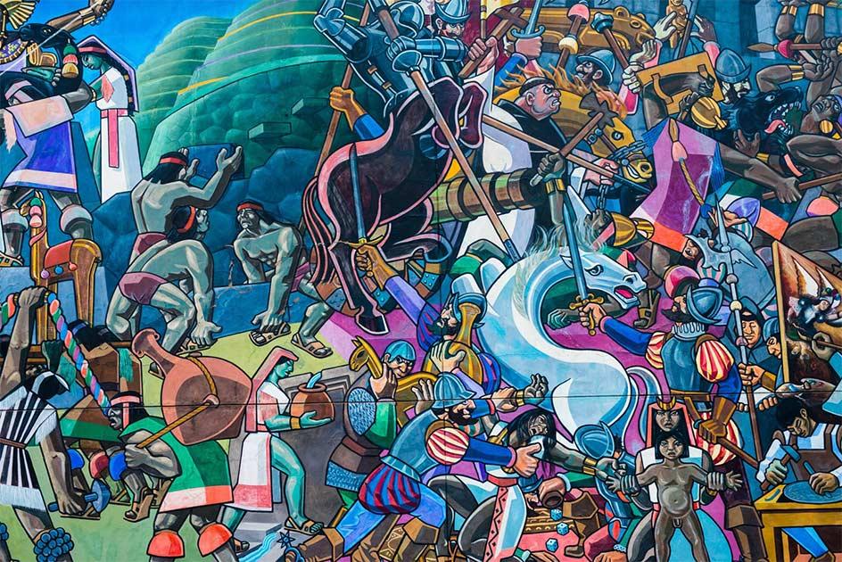 Arte callejero que ilustra lo que los conquistadores españoles le hicieron al Inca durante su conquista y la Batalla de Cajamarca. Fuente: shantihesse / Adobe Stock.Por Wu Mingren