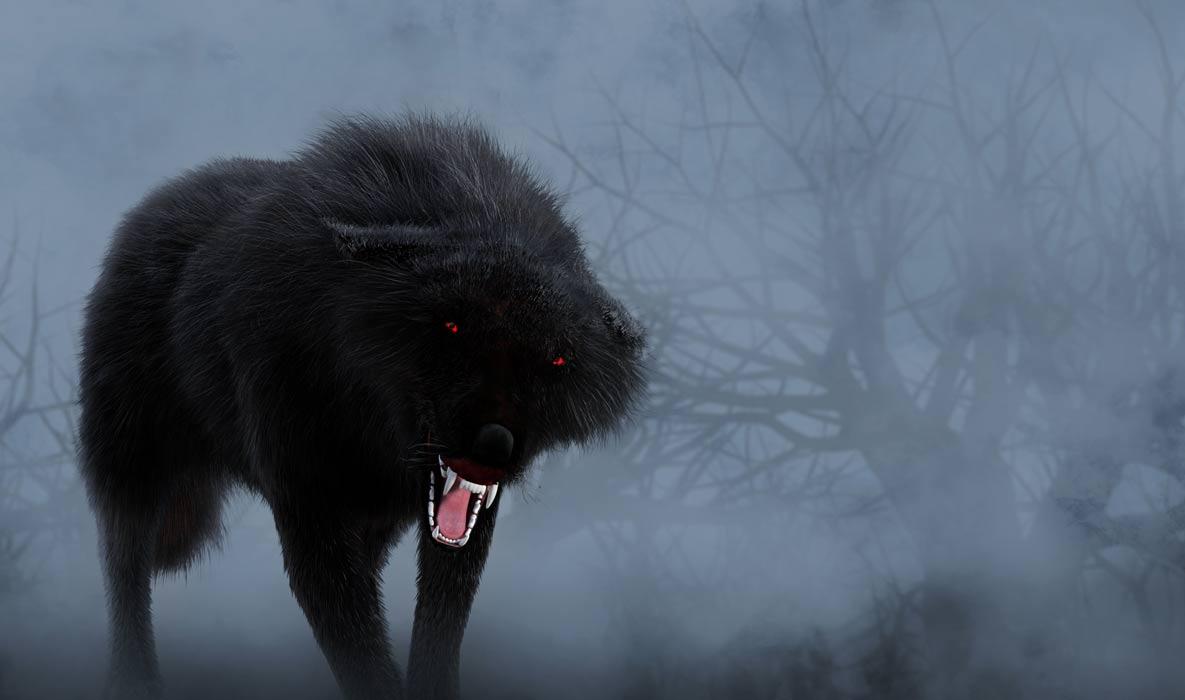 Un perro negro amenazante con ojos rojos y brillantes.