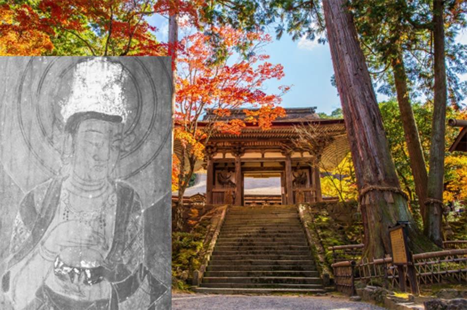 El templo de Saimyoji contiene un notable arte budista. (Yuta1127/ Adobe Stock) Insertar: Una de las pinturas reveladas con imágenes infrarrojas. (Noriaki Ajima)