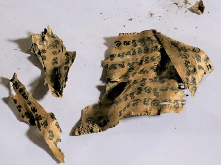 Texto budista antiguo descubierto cerca de Mes Aynak, Afganistán Fuente: Kyodo News (Uso justo)