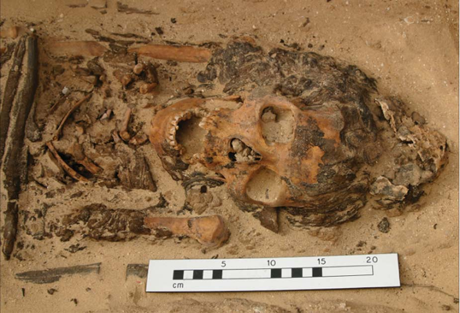 Una de las tumbas de Amarna encontradas con un cono de cabeza. Fuente: Cortesía del Proyecto Amarna a través de Antiquity Publications Ltd