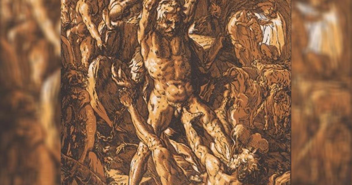 Hércules parado sobre Cacus golpeándolo con su garrote. Fuente: Hendrick Goltzius, (1588) / Dominio público