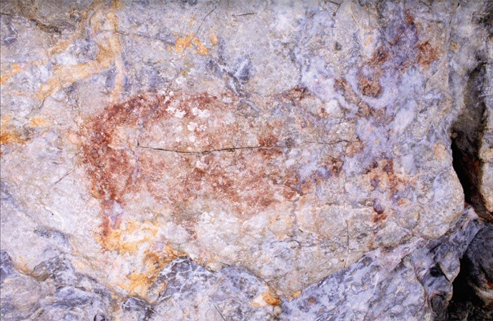 Panel 2, unidad gráfica 3, que ha sido afectada por formaciones de calcita y humedad Fuente: Blanca Ochoa et al. / Antiquity Publishers Ltd