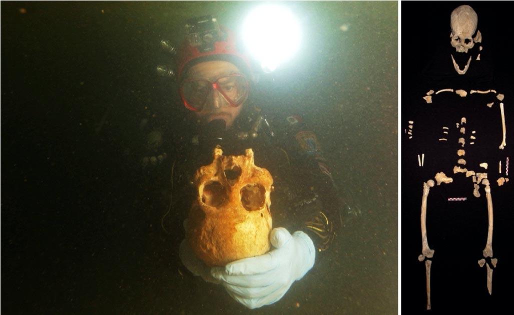 Derecha: los buzos descubrieron los restos de la mujer antigua en la cueva del cenote Chan Hol, cerca de Tulum, México. Izquierda: piezas de esqueleto juntas. Fuente: Eugenio Acevez y Jerónimo Avilés Olguín / Universidad de Heidelberg