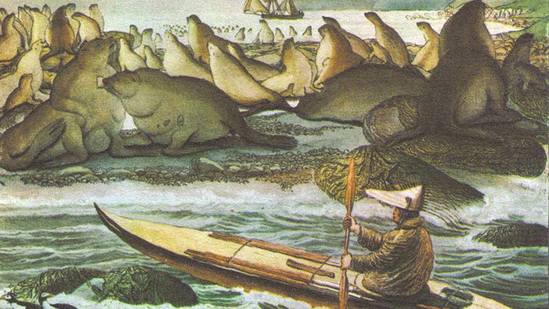 Ilustración de un Aleut remando en un baidarka, con un barco ruso anclado en el fondo, cerca de la Isla Saint Paul, por Louis Choris, 1817. El sitio de Chaluka estaba habitado por los antiguos Aleut. Fuente: Dominio Público