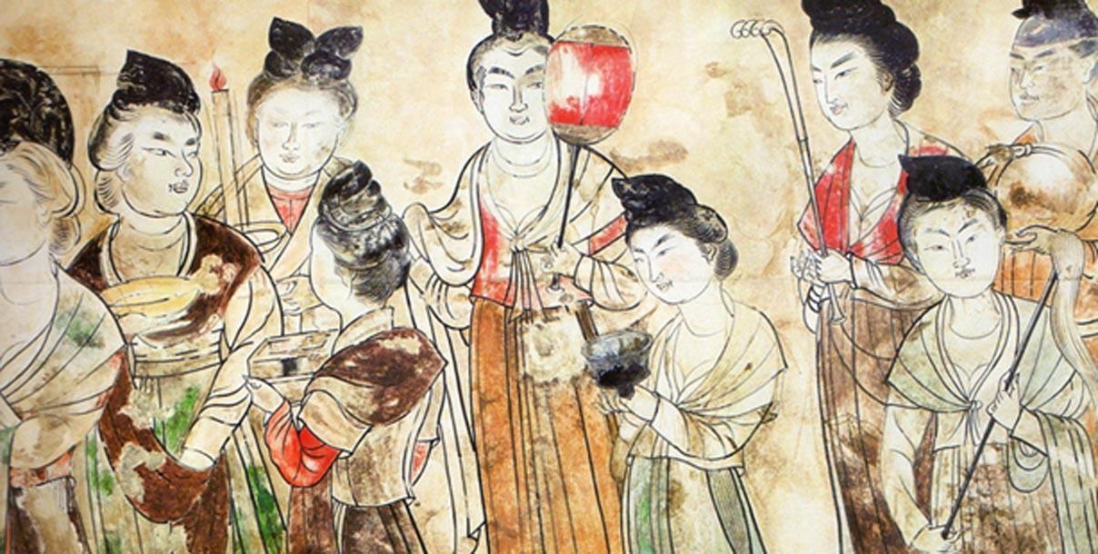Damas de la corte de la dinastía Tang 706 CE. (Dominio público)
