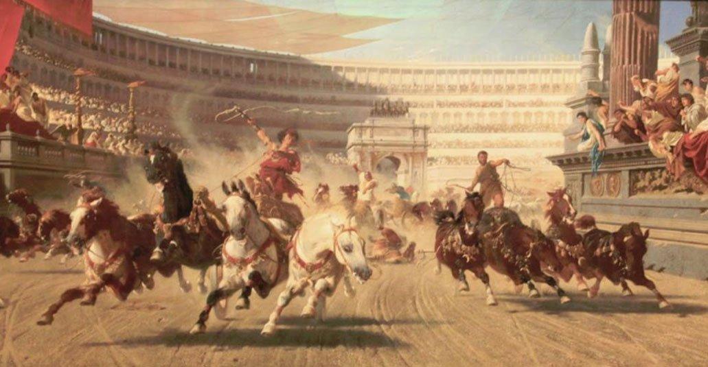 La carrera de carros. Cinisca fue una princesa espartana y la primera mujer en ganar la carrera de carros en los antiguos Juegos Olímpicos.