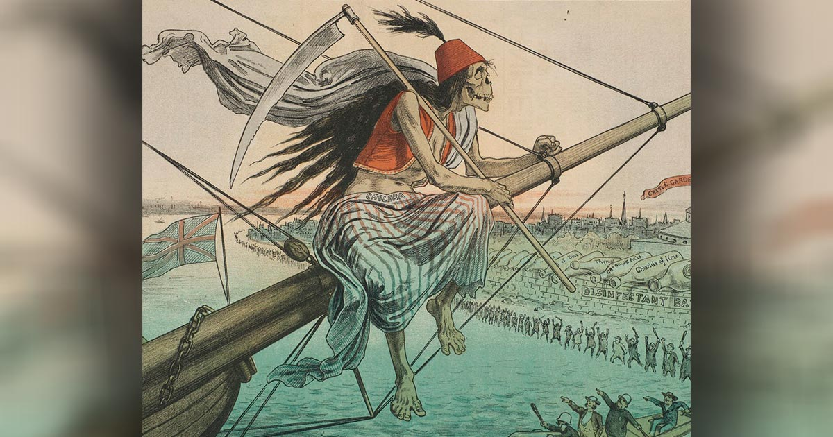 Un ángel de la muerte trae la muerte en barco. Crédito: Biblioteca Médica Cushing / Whitney