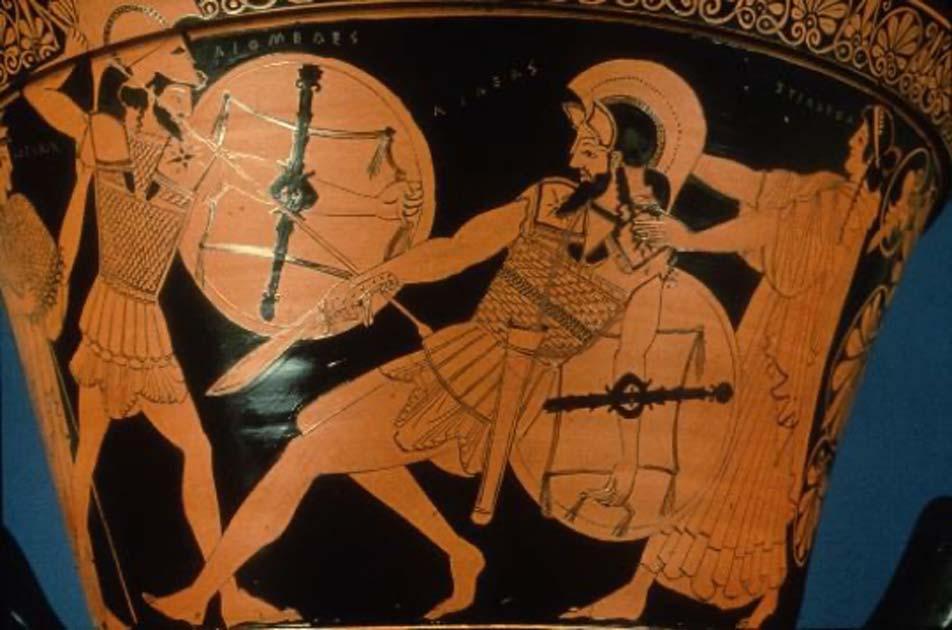 Diomedes ataca a Eneas mientras Afrodita se para detrás de él. (Dr. Yasas Bandara / Dominio público)