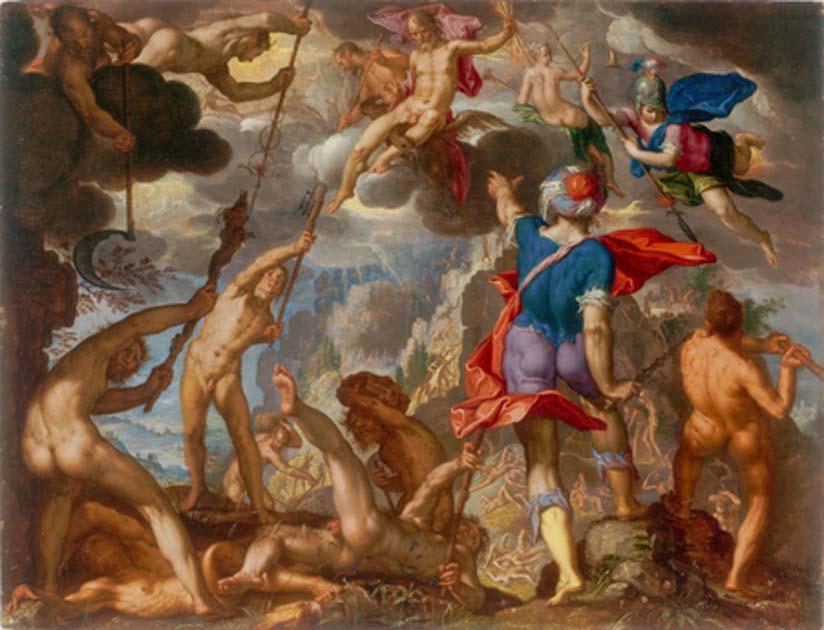 La batalla entre los dioses y los titanes por Joachim Wtewael. El comienzo de los dioses griegos Fuente: dominio público