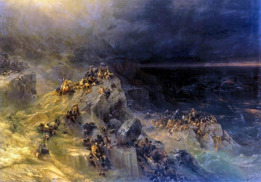 Personas moviéndose a terrenos más altos en 'Diluvio' de Ivan Aivazovsky. Una nueva investigación muestra que algunas personas sobrevivieron al devastador tsunami de Doggerland.