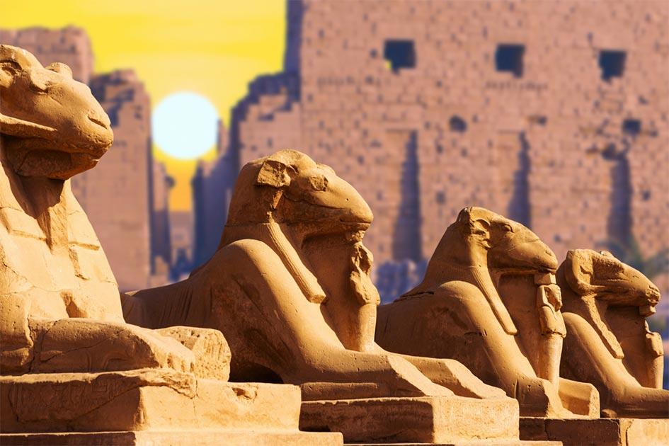 Cuatro antiguas esfinges egipcias representadas en el Templo de Karnak en Luxor. Fuente: stock de Anton/ Adobe