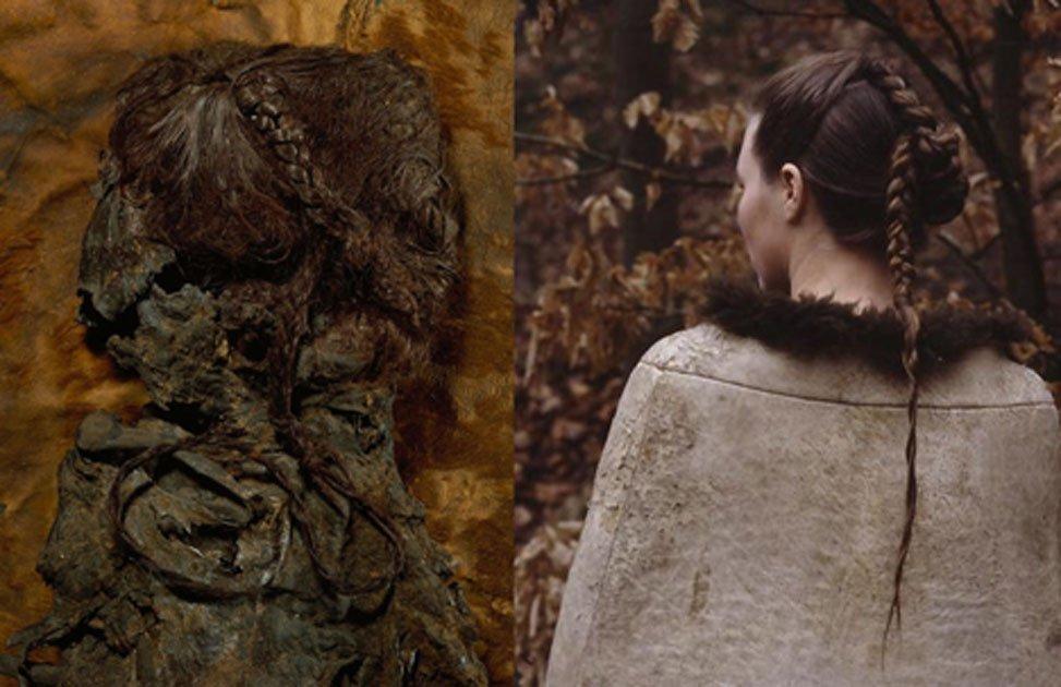 La parte superior del cuerpo de la mujer Elling (CC BY-SA 3.0) y una reconstrucción de su peinado y capa de piel. (Mundo Matrix)