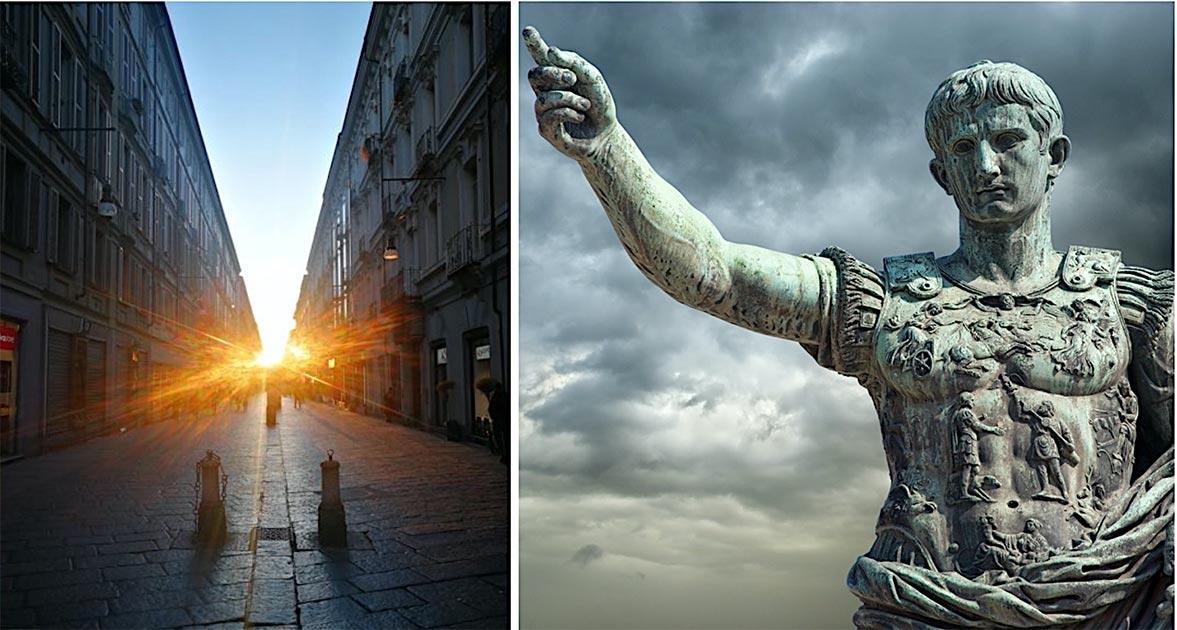 Izquierda: un equipo de científicos ha encontrado una alineación que ocurre entre el Sol naciente y una calle principal en Turín que se construyó alrededor del 28 a. (Guido Cossard) Derecha: Estatua del emperador Octavio en Roma. (fabiomax/ Adobe stock)