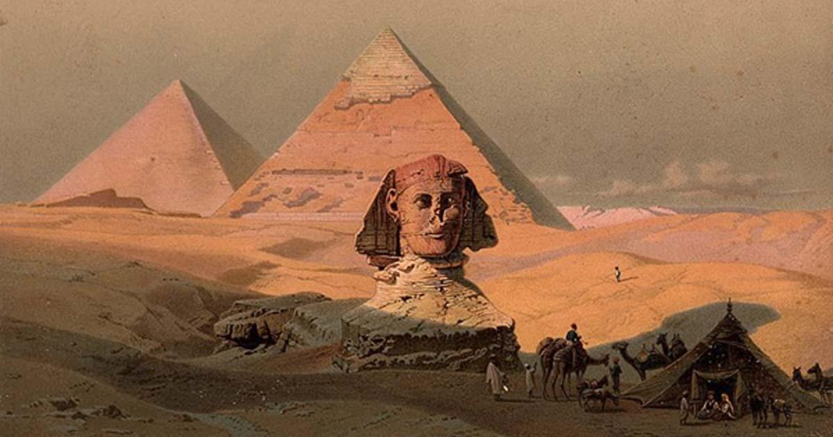 las pirámides de Guiza y la Esfinge. Litografía en color de GW Seitz, ca. 1878 (CC POR 4.0)
