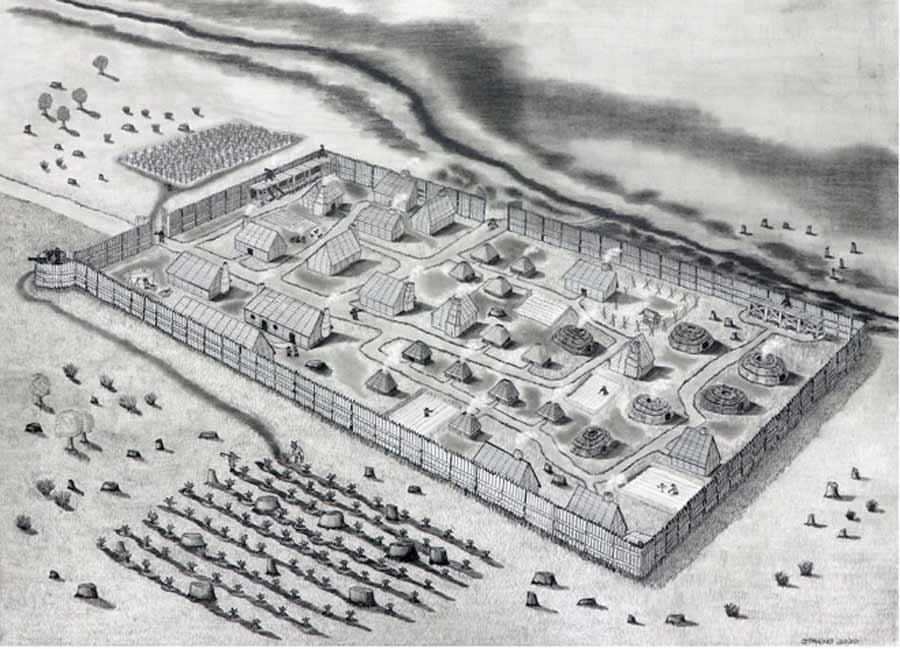 Un dibujo conjeturado del asentamiento de Santa María en Maryland en 1634